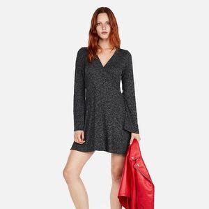 Express Long Sleeve Gray Faux Wrap Dress Sz M